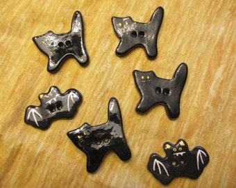 set of 6 black cats and bats Halloween ceramic buttons