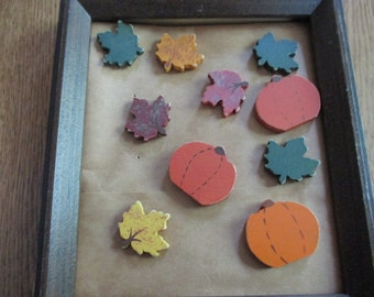 Fall pin brooch hand painted wood maple leaf and pumpkin tack pin