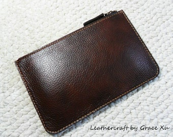 100% hand stitched handmade walnut brown cowhide leather pouch / clutch for M/P use -- money / pencil / cosmetic etc.