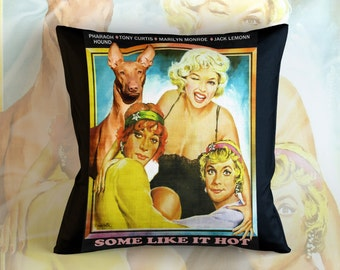 Pharaoh Hound Art Pillow Case Throw Pillow - Some Like It Hot Movie Poster  Perfect DOG LOVER Gift for Her Gift for Him
