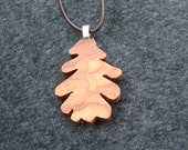 Rustic oak Leaf Necklace - Wooden Hand Cut Oak Leaf Pendant Necklace.