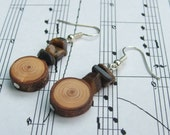Natural Wooden Rustic Dangle Earrings - Larch Wood and Tigers Eye- Simple and stunning