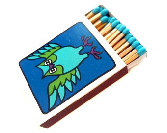 Owl Matchbox Strike on Box of Matches CP 1965 Japan Colored Heads Tips Hippie Wooden Matchsticks 1960's Mod Pop Art Colorful Groovy Graphics