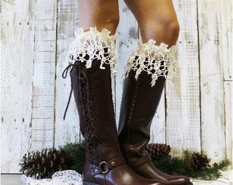 Lace socks tall, Boot Socks women in IvorY, ROSE tall knee socks, hosiery, socks for boots, Crochet, boot cuffs | leg warmers  | BCS16