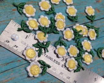 Yellow applique flowers lace trims  26 pces rosebuds rosette jewelry costume hair accessories baby headband doll  by Catherine Cole