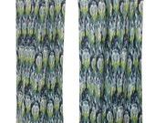 SALE Ikat Curtains- Pair of Drapery Panels- Premier Prints Frost Birch Ikat Craze Curtains- Custom Window Treatments- Textured Blue Green