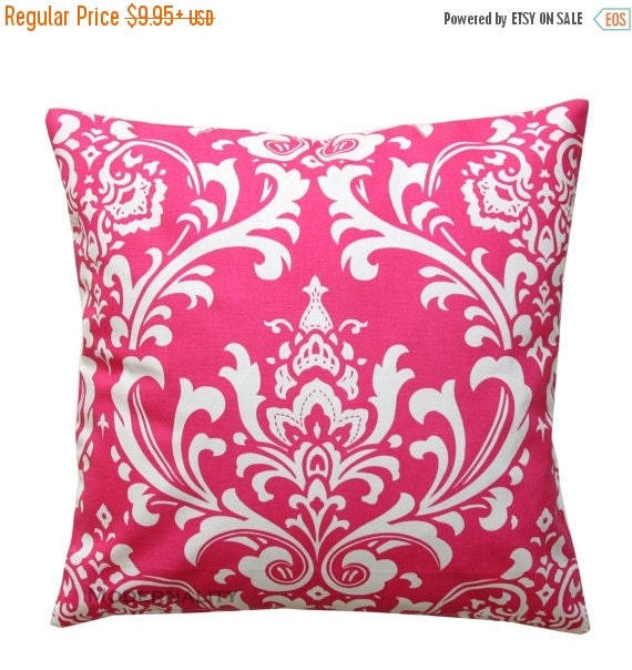 SALE Pink Throw Pillow, Ozborne Candy Pink Pillow Cover, Damask Pillow Case, Zippered Pillow, Damask Cushion Cover, Girls Hot Pink Room Deco