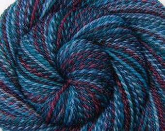 Handspun Yarn, 2 ply - SECRET PASSAGEWAY - Hand painted Silk / Polwarth wool, DK weight, 258 yards