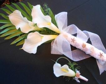 Destination Wedding Calla Lily Bridal or Brides Maid Bouquet. Tropical Beach Wedding Flowers with Seashells Starfish TRUE TOUCH Calla Lily