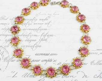 Stunning Antique Pink Rose Lucite Chatons Gold Tone Finish Necklace