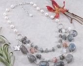 CLEARANCE SALE: Labradorite, Sunstone, Moonstone, Freshwater Pearl & Sterling Silver 3 Strand Necklace w/ PMC Metal Clay Charms