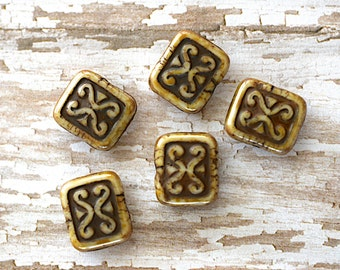 Czech Glass Rectangle Bead -12X11mm- Taupe w/ Brown Picasso & Dark Brown Accents - 5 Pieces (AN6-64)