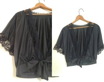 Cropped Lace Boudior Wrap Blouse / Vintage Lingerie USA Made Black Peignoir / Tie Bed Jacket with Dalman Sleeves / Vintage Size M