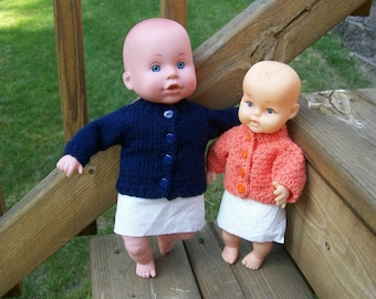 73) Cardigan Sweater  10-12 Inch Baby Dolls Cardigan Long Sleeves Knit Hand Made Dolls Doll Clothes Toys Plain Knit or with a Pattern