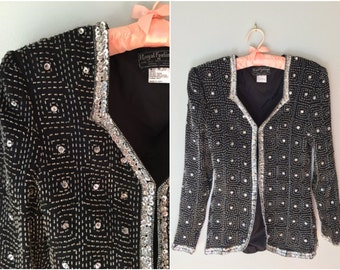 Sequined beaded party top