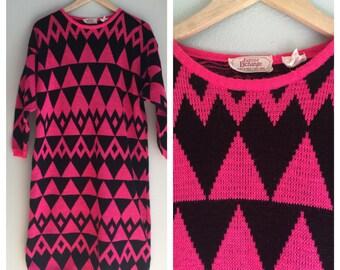Sweater dress with diamond motif 80s winter fashion