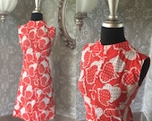Vintage 1960's Coral and White Heart Novelty Print Mini Dress Small