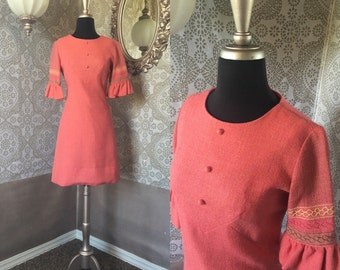 Vintage 1960's Pink Wool Mini Dress with Ruffled Sleeves S/M