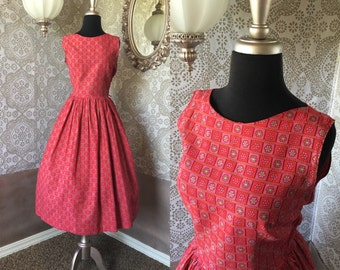 Vintage 1950's Pink and Red Floral Print Cotton Dress Small