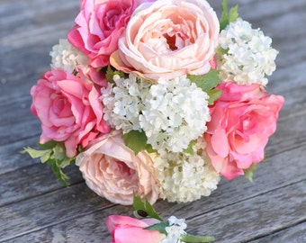 Silk Wedding Bouquet, Bridal Bouquet Pink Cabbage rose, Pink Rose and Ivory Viburnum silk flowers and Boutonniere.