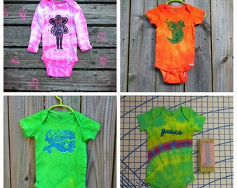 MADE TO ORDER tie dyed onesie with hand stamped design. Dragon, fairy, mermaid, or peace, any color, any size.