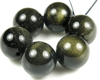 Golden Obsidian Large Round Bead - 13.8~14mm - 6 Pieces - B4447