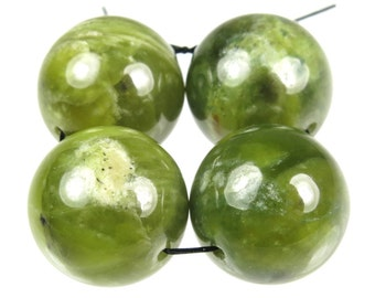 RESERVED for Roda - Unique Jade-Like Bowenite Noble Serpentine Large Round Bead - 16mm - 4 Pieces - B4705