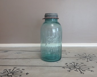 Old and Large Ball Perfect Mason Ball Jar Canning Jar with Zinc Lid with Glass Insert Mason Jar Flower Vase Shabby Decor Cottage Decor