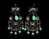 Filigree kissing doves and turquoise earrings