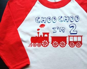 Choo Choo I'm 2 // Second Birthday Shirt // Train Birthday Shirt // Thomas Birthday // Thomas the Train