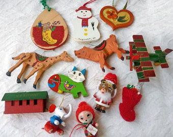 12 Tree Ornaments, hand painted lot of wooden decorations,Christmas decor