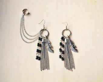 Gunmetal Feather and Tassel Ear Cuff Earrings (Pair)