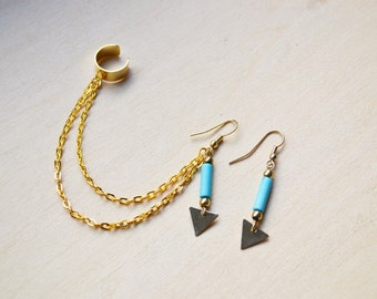 Gold and Blue Triangles Ear Cuff Earrings (Pair)