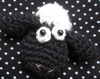 Bramble the Sheep Crocheted Brooch