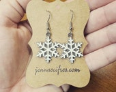White and Silver Snowflake Earrings - Holiday Jewelry - Hostess Gift - Hypoallergenic Nickel Free - Christmas Jewelry - Free Gift Box!