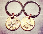 Dad Gift - Est. 2016 - Pick Any Penny Year - Lucky Penny Keychain - Stamped and Hammered Penny - Choose Text and Personalization
