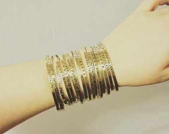 Super Skinny Golden Brass Cuff Bracelet with Custom Stamped Wording - Personalized Gold Cuff Bracelet