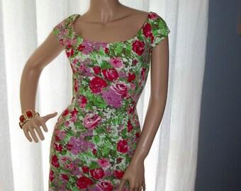 Mr. Blackwell Design Floral Wiggle Dress Fishtail Hem