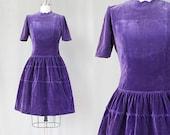 1950s Scalloped Velvet Dress / 1950s Full Skirt Dress / Scalloped Skirt Dress / Velvet Party Dress /