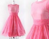 1950s Party Dress / Swiss Dot Dress / 1950s Pink Party Dress / Full Skirt / Sheer Pollka Dot Dress / Extra Small 25 Waist