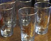 set of 6 vintage retro 1960 dragon decoraterd tumbler glasses