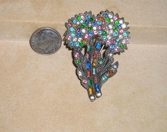 Vintage Art Deco Era Rhinestone Flower Brooch With Multi Colored Stones And Baguettes 1920's Jewelry H38