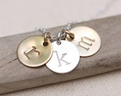 Initial Necklace, Personalized Mothers Necklace, Mother's Jewelry, Personalized Necklace, Gold Personalized Necklace, mixed metal