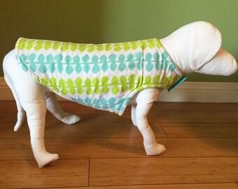 Flannel & Fleece Dog Coat, Small, Aqua Blue and Lime Green Leaf Print Fleece with Aqua Fleece Lining