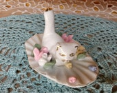 Vintage Cat Ring Holder - hang rings on her tail! - flowers pink yellow blue Shabby Chic Gift