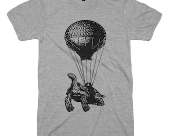 Flying Turtle Hot Air Balloon Soft Vintage Funny Animal Humor Tee Parachute Facebook Tortoise Birthday Shirt Gift For Men Dad Present - XL