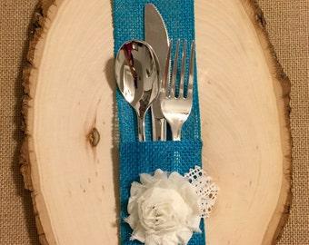 Burlap Silverware Holder with white fabric flower - Set of 4 Easter Spring Summer