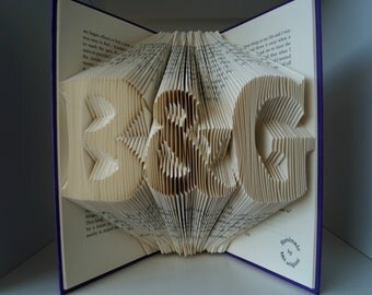 Personalized Anniversary gift-Initial Folded Book Art-you and me -made to order
