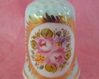 Thimble HAND PAINTED Bone China with Roses and Daises