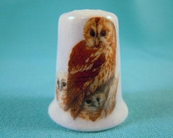 Thimble Bone China with Family of Owls
